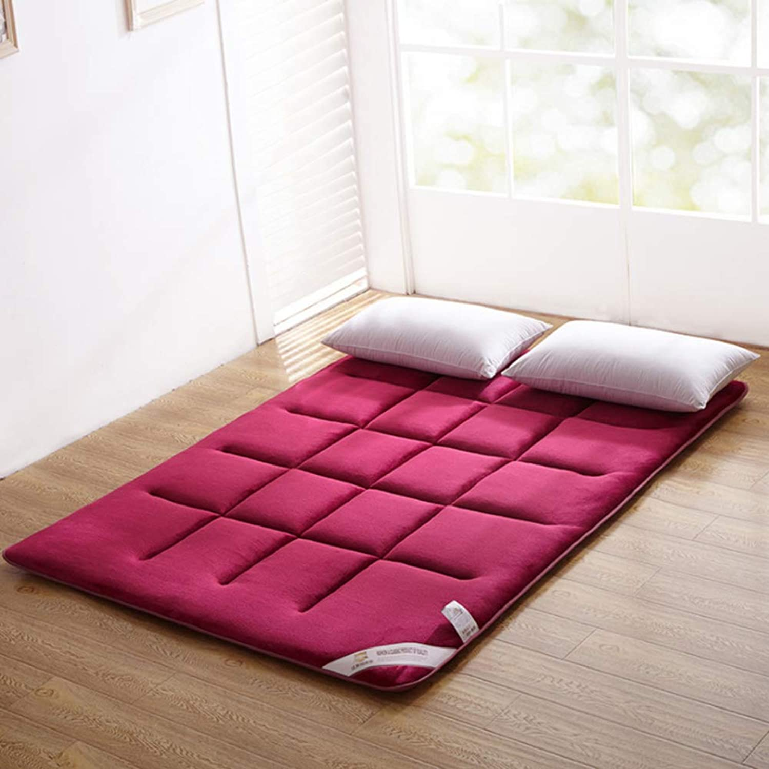 WYMNAME Foldable Japanese Floor futon Mattress, Non-Slip Tatami Floor mat Futon Mattress Topper for Bedroom Student Dormitory-pink Red 90x200cm(35x79inch)