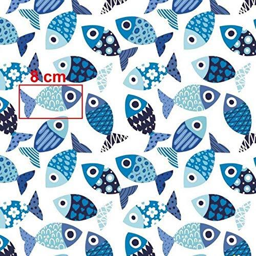 Pingianer 8,98€/m Fisch Wal Hai 100{56b0a3ba3d172f758058e9fe6b35c237a56c3fafd533029e22d8f26cb61059aa} Baumwolle 50x160cm Baumwollstoff Meterware Handwerken Nähen Stoff (Fische Blau Durcheinander)