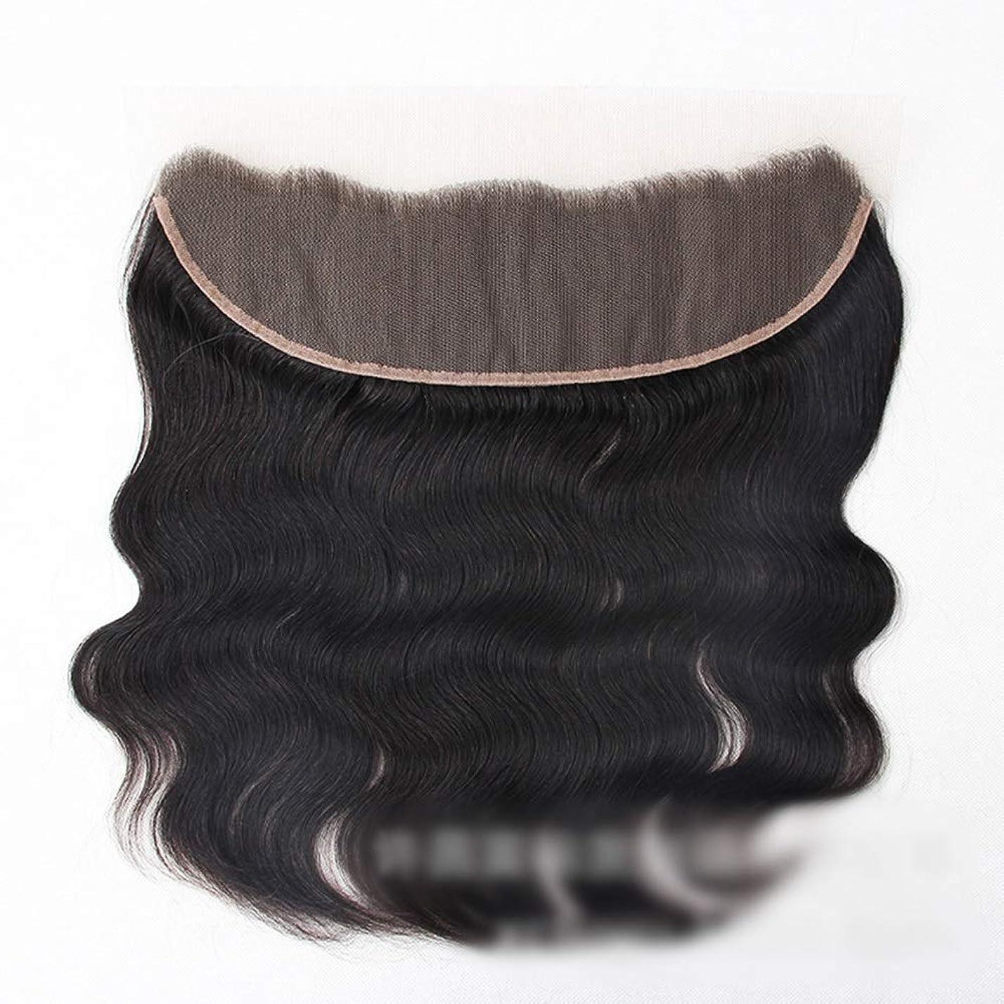 ハイジャックトロリーコーンBOBIDYEE 13 * 4レース前頭閉鎖自然な人間の髪の毛の前頭実体波ヘアエクステンション女性の短い巻き毛のかつら (色 : 黒, サイズ : 10 inch)
