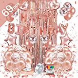 Birthday Decorations (69PCS), Rose Gold Birthday Party Decorations Set Pink, Princess Party Supplies Kits with Confetti Balloons, Happy Birthday Banner Foil Fringe Curtain for Girls Women Mom 16th 18th 21st 30th 50th 60th OMOSAKI
