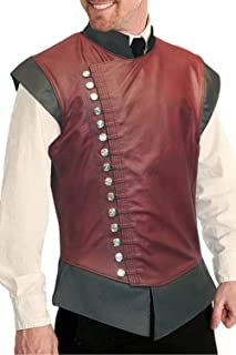 YEAXLUD Mens Renaissance Steampunk Stand Collar Breasted Vest Jerkin Gothic Waistcoat