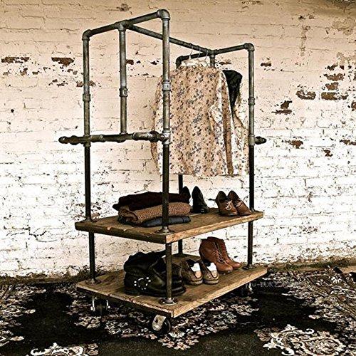 Unbekannt FEI Rack Kleidungs-Gestell-industrielles Eisen-Rohreisen-Massivholz Bekleidungsgeschäft-Ausstellungsstand