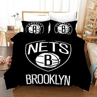 Vampsky NBA: Brooklyn Nets, Cama 3D Conjunto de 3 piezas (incluyendo: 1 * 2 * cama cubierta de almohada), los ventiladores mejor regalo for el baloncesto, los productos suaves, aficionados Equipo Loca