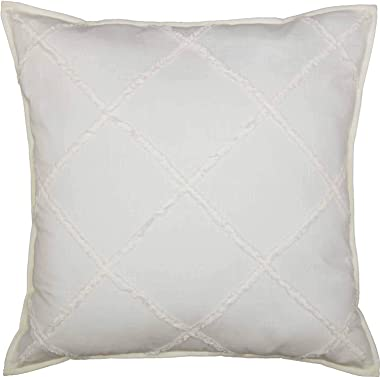 "Piper Classics Kathryn Euro Sham Pillow Cover, 26"" x 26"", Soft White Linen-Look Textured Fabric w/Hand Quilted Micro Ruffles,"