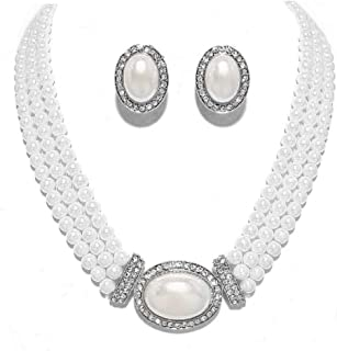Elegant Multi Layered Strands Cream or White Pearl Crystal Necklace Clip on Earrings Set Gift Bijoux