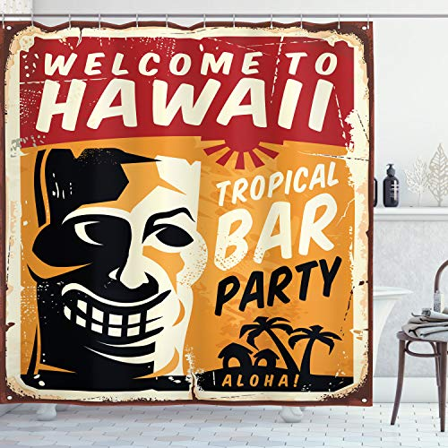 Ambesonne Tiki Bar Shower Curtain, Welcome to Hawaii Tropical Bar Party Retro Style Grunge Signboard Picture Art, Cloth Fabric Bathroom Decor Set with Hooks, 75' Long, Ruby Orange