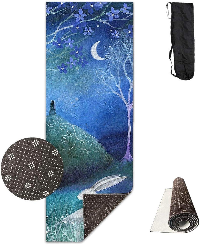 Yoga Mat Non Slip 24  X 71  Exercise Mats Night Painting Premium Fitness Pilates Carrying Strap