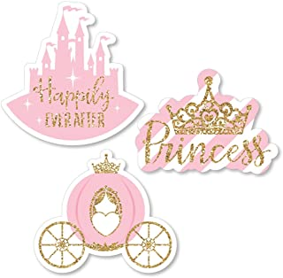 Big Dot of Happiness Little Princess Crown - DIY Shaped Pink and Gold Princess Baby Shower or Birthday Party Cut-Outs - 24 Count