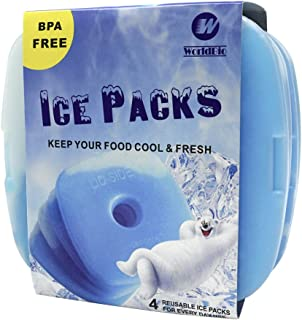 WORLD-BIO Ice Freezer Packs for Lunch Box Cooler, Reusable Cool Refreeze Blocks for Lunch Bags, Keeps Food Cold & Fresh - ...