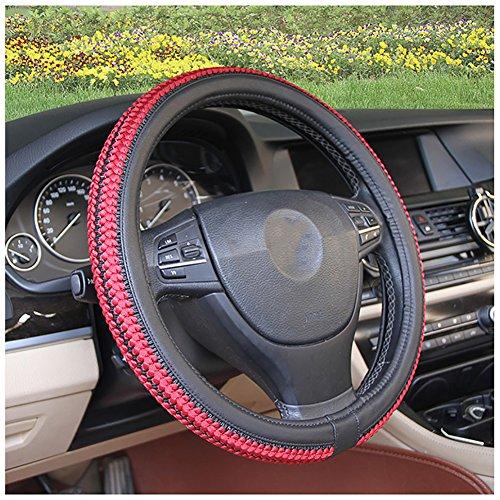 Couverture De Volant De Voiture Été Soie De Glace Enjoliveur De Roue Diamètre 38 Cm Confortable Respirant Mode Four Seasons Universal,Red