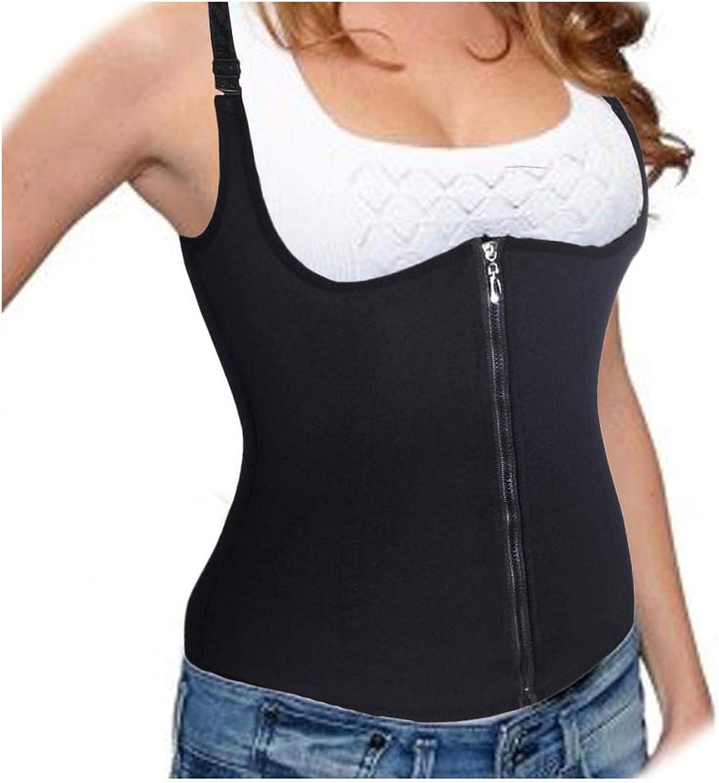 EnjoySexy Adjustable Shoulder Strap Waist Shaper Corset Zipper Hook Body Shaper Tummy Control Shapewear,Black,2XL