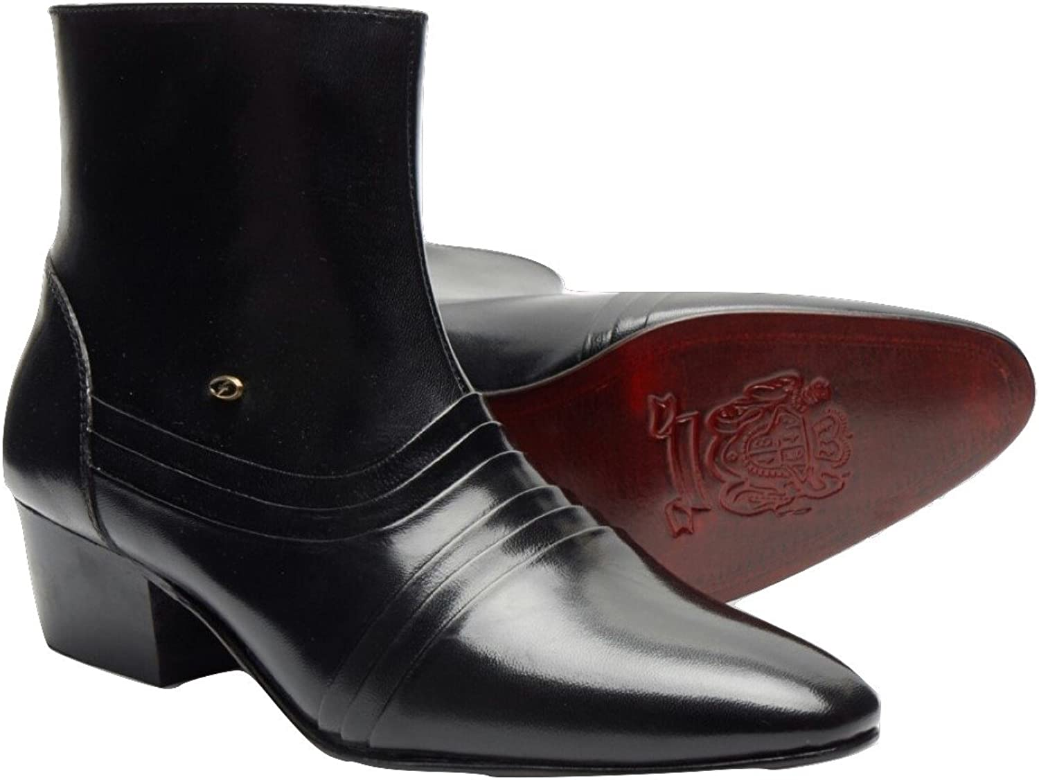 Lucini Ankle Boots Heel Men Leather Black Wedding Office