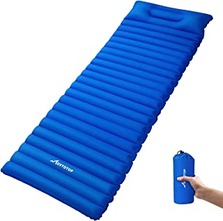 MOVTOTOP Self Inflating Sleeping Pad, Comfortable Foam Camping Mat with Attached Pillow Light Weight Camping Air Mattress for Hiking Backpacking Indoor Party(Optional Pillow)