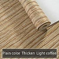編まれていない壁紙、シンプルな3次元、3次元の木目、リビングルーム、ベッドルーム、ホテル、ゲストハウス、53X1000cm(20.8inX393.7in)、ライトコーヒーカラー