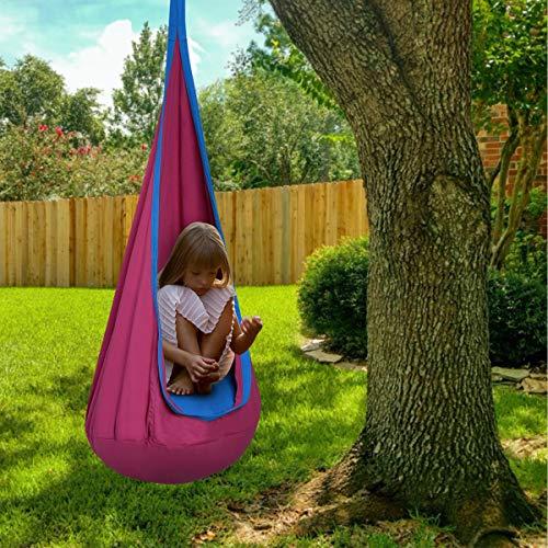 DREAMADE Hängehöhle für Kinder, Hängesessel Kinderhängesitz für innen und draußen, Kinder Hängesack als Fly Schaukel, Kinderhängeplatz Hängeschaukel mit Sitzkissen, max. 80kg belastbar (Rosa) - 3