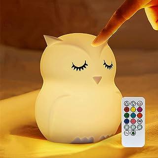 otutun Veilleuse Enfant, Veilleuse de Bébé Rechargeable par USB avec Contrôle Tactile LED Lampe en Forme de Hibou Mignon p...