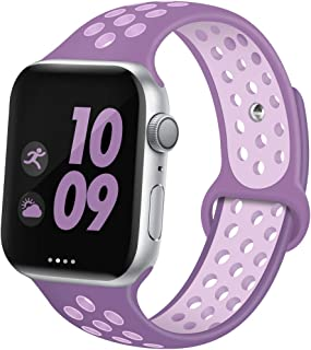 EXCHAR Sport Band Compatible with Apple Watch Band 38mm 42mm 40mm 44mm Breathable Soft Silicone Replacement Wristband Women and Men for iWatch Series 5 4 3 2 1 Nike+ All Various Styles