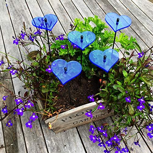 SunCatcher: SONNENFÄNGER 5er Set 'Herzen' Fluoreszierende Gartendeko | 6cm Durchmesser mit 25cm Schwingstab | Hochzeit Liebe Love Valentinstag, Farbe:Blau