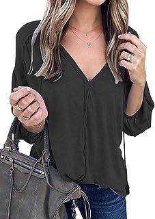Shallood Donne Casuali Manica Lunga Draped Camicia Long Pullover con Scollo V Camicie Irregolare Cime Tinta Unita Magliett...