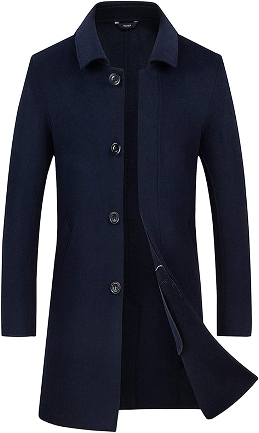 EverNight Wool Blend Top Coat,Lapel Slim Fit Stylish Trench Overcoat,Winter Casual Business Top Jacket,Blue,XXXL