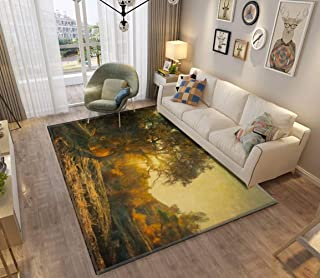 Area Rug and Carpet for Home Living Room, oil painting of oak tree at sunset oil painting landscapes and Large Anti Slip C...