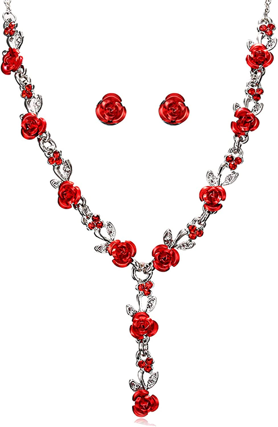Glimkis Rose Flower Jewelry Set Pendant Statement Collar Charm Necklace and Earrings Women For Bride,Red