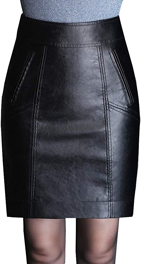 DISSA FS7658 Women Pu Leather Plus Size Mini Bodycon Pencil Club Skirt