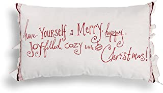 DEMDACO Have Yourself Merry Happy Christmas White & Red 24 x 14 Inch Polyester Throw Pillow