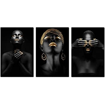 3 Pcs African American Wall Art Canvas Black Woman Portrait Photography with Gold Earrings Necklace Wall Art Poster Modern Art Decor Painting for Home Decorations(Unframed,16x24 inches)