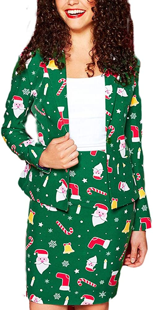 LoVnely Women's Christmas Blazer Skirt Set Ladies Open Front Coat Knee Length Skirts Slim Fitted Festival Suit Skirts Sets
