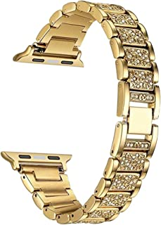HEMOBLLO 38mm Metal Crystal Watch Band Replacement Wristband Strap for Apple Watch (Golden)