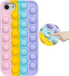 Fidget Toys Phone Case, Pop Fidget Reliver Stress Toys Push Pop Bubble Protecive Phone Case, Silicone Shockproof Phone Cov...