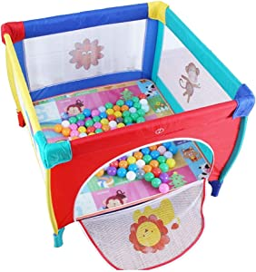 Hfyg Playpens Baby Playpen  Safety Household Protective Fence  Toddler Folding Portable Indoor Outdoor Square Playpen pens  Color