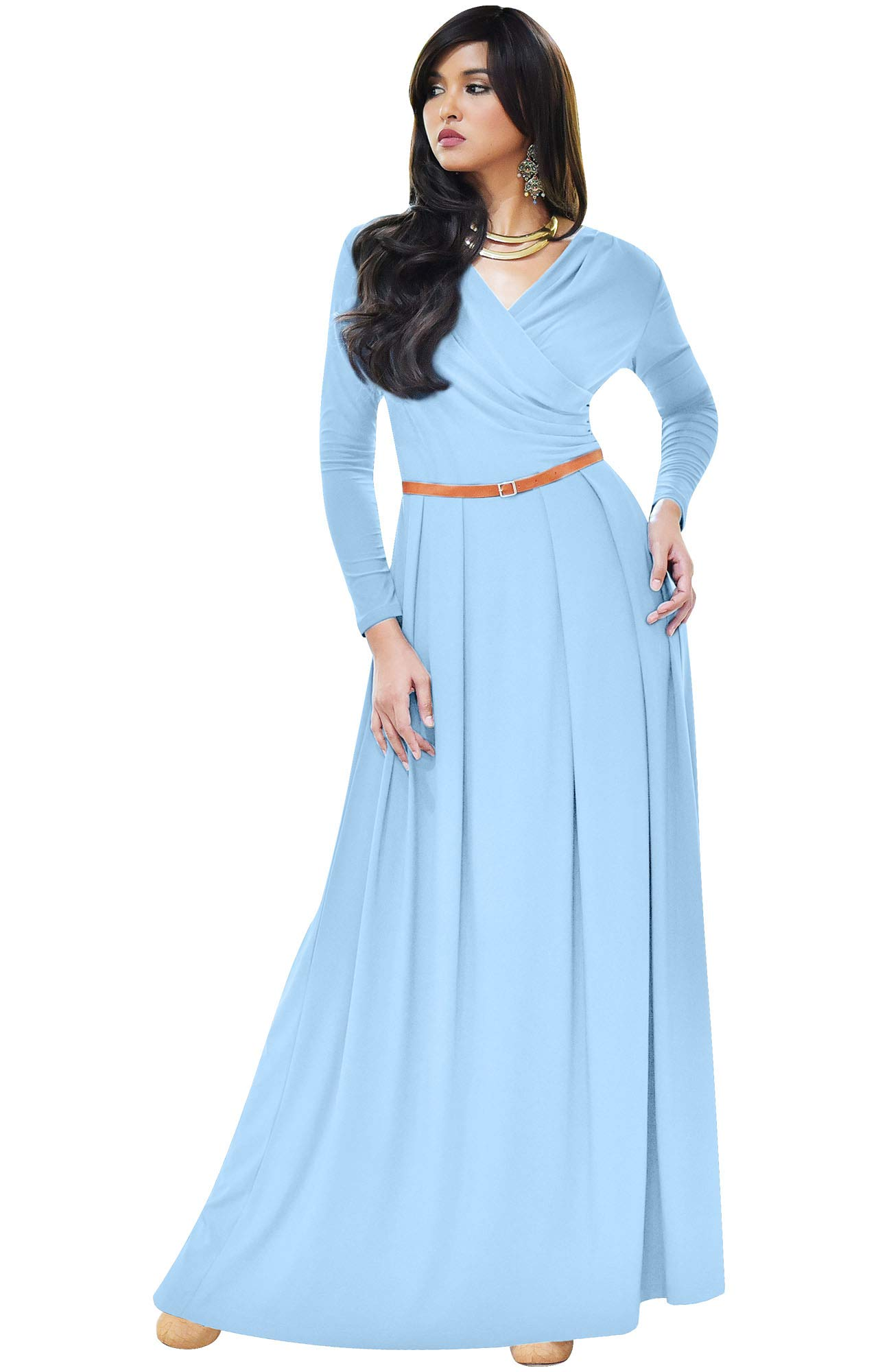 Available at Amazon: KOH KOH Women's Long V-Neck Full Sleeve Semi Formal Flowy Evening Cute Maxi Dress