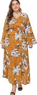 07c8bc392 ZEFOTIM ✿ Plus Size Fashion Dresses for Women Wrap V-Neck Flare Sleeve  Print Bandage