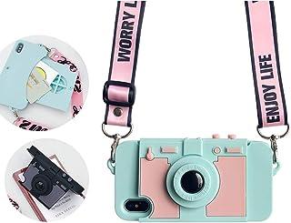 UnnFiko - Funda Tipo portafolios para iPhone 6/ iPhone 6s, diseño de cámara de Fotos, con Tarjetero y Correa de Hombro Lar...