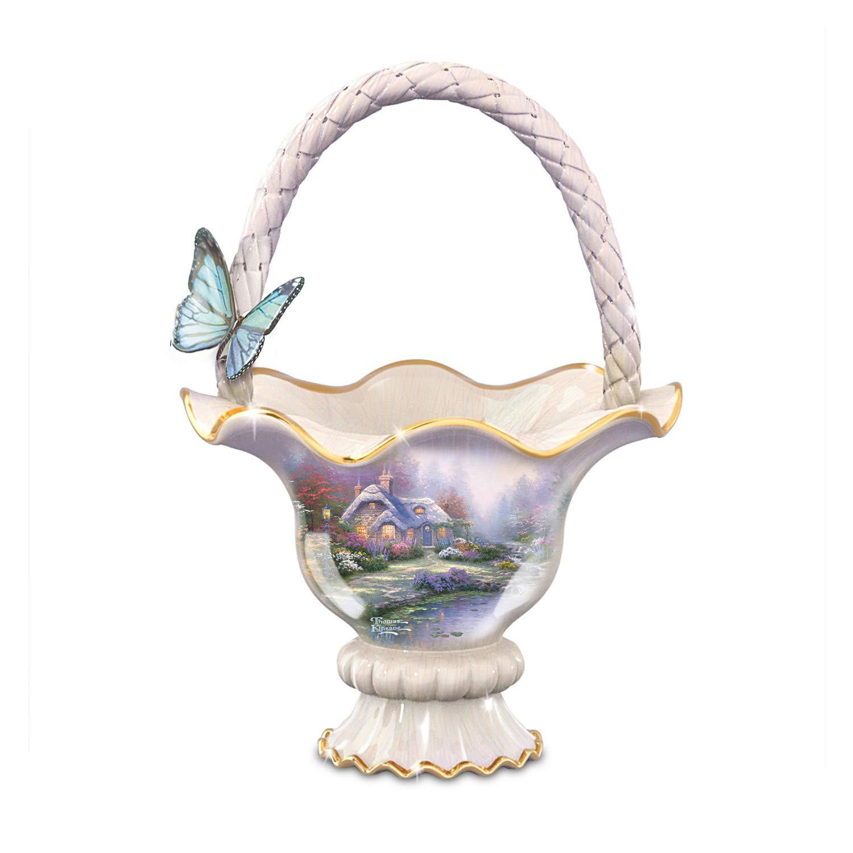 Image of Ceramic Everett's Cottage Thomas Kinkade Basket