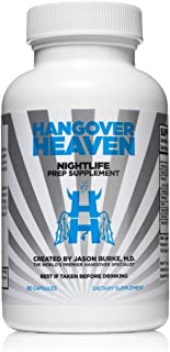 Highest Rated Hangover Prevention Supplement by Hangover Heaven   Formulated by Dr. Jason Burke - World Famous Hangover Specialist   Reduce Migraines, Nausea, Dizziness, Fatigue - 90 Capsules
