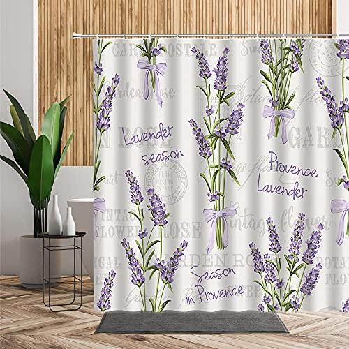 Duschvorhang 180X220 Lavendel Duschvorhäng Badezimmer,Duschvorhang Anti-Schimmel aus Polyester Wasserabweisend Shower Curtain Anti-Bakteriell mit 12 Duschvorhangringen