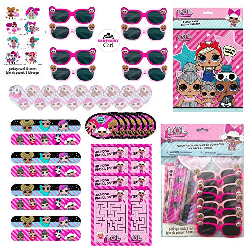 LOL Surprise Dolls Birthday Party Favor Set for 16 Guests - Includes Goody Bags, Filler Loot (Tattoos, Stickers, Notepads, Glasses, Activity Pads) and Sticker for Birthday Girl