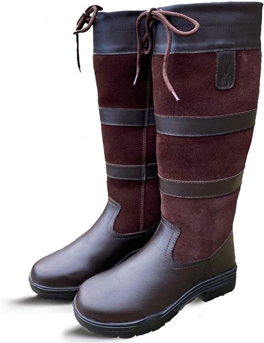 Adults Equestrian Ladies Womens Riding Walking Outdoor Yard Brown UK Size 3-9 Standard Calf Width KTY Long Leather Country Boots