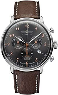 Zeppelin LZ129 Hindenburg Charcoal Dial Brown Leather Band Watch 7088-2