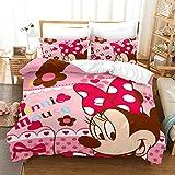 MYLZZ BT023 Mickey Mouse - Juego de cama para niñas (1 funda nórdica de 135 x 200 cm, 2 fundas de almohada de 80 x 80 cm (5,220 x 240 cm y 50 x 75 cm)