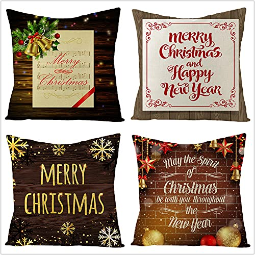 Federe per Cuscino, Lettere di Natale marroni Moderna Decorativi in con Cerniera Invisibile Fodera per Cuscini, Set di 4 Quadrati Cuscino per Soggiorno Giardino Sedia Bed Auto Divano 55x55cm(22x22in)