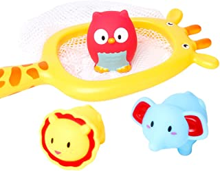 NUOLUX 4pcs Baby Bath Toys Fishing Floating Toys Sand Fishing Toy(Giraffe Net + Lion + Owl + Baby Elephant)