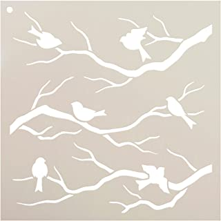 Birds & Branches Stencil by StudioR12 | Reusable Mylar Template | Crafters and Sign Makers can Paint DIY Nature Home Decor - Furniture - Scrapbook- Cards - Choose Size (9