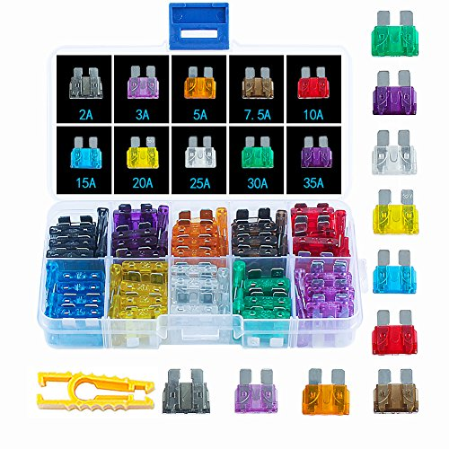 Ciaoed 100pcs Assorted Auto Car Truck Standard Blade Fuse Assortment 2 3 5 7.5 10 15 20 25 30 35 AMP Car Boat Truck SUV Automotive Replacement Fuses Auto Holder,Fuse Kit Car Accessories