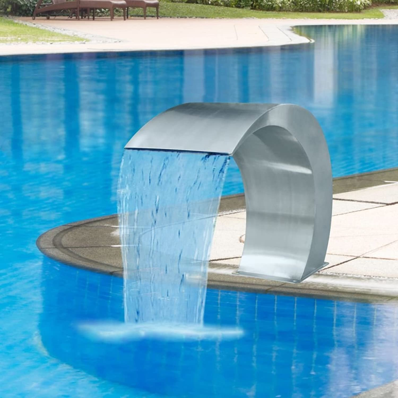 FZYHFA Waterfall Pool Fountain Stainless Steel for Garden & Swimming 45x30x60 cm