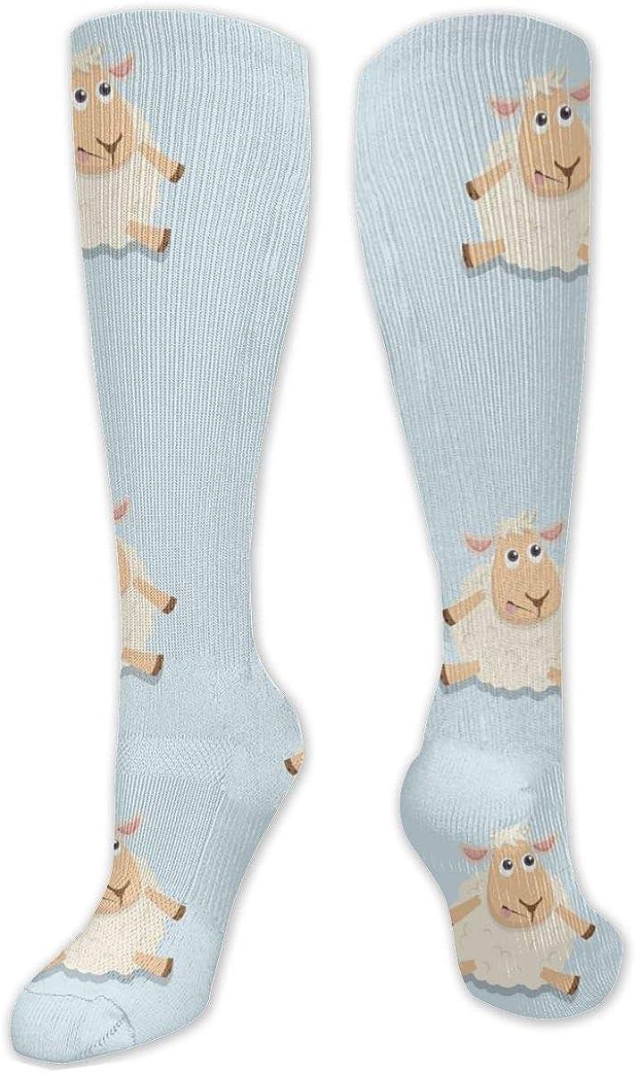 Cute Sheep Sitting Happy Knee High Socks Leg Warmer Dresses Long Boot Stockings For Womens Cosplay Daily Wear