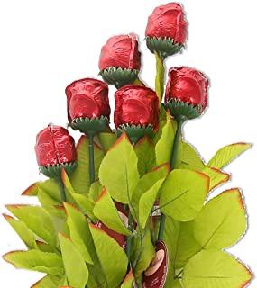Madelaine Chocolates, Exquisite, Intricate, Highly Detailed 3/4 OZ Premium Milk Chocolate Roses, Nestled In Medium Stems With Lush, Silk Leaves - Semi-solid Chocolate - (Red) (6 Pack)